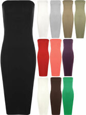 Viscose Solid Strapless Dresses for Women