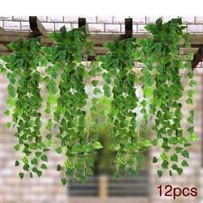 12Pcs 7.5ft Artificial Ivy Vine Leaf Garland Plants Fake Foliage Flowers Decor^~