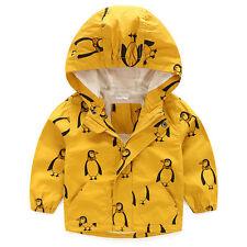 Penguins Kid Boy Children Hooded Rain Coat Windbreaker Jacket Outerwear Clothes