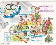 SAN MARINO  francobolli usati 1992 foglietto OLIMPIADI DI BARCELLONA ANNULLO FDC