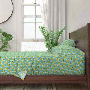 Sloths Sloth Tropical Green Spring 100% Cotton Sateen Sheet Set by Roostery