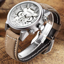 MEGIR Men's Luminous Chronograph Quartz Waterproof Leather Band Wrist Watch