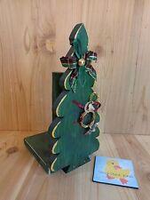 "CHRISTMAS TREE PAPER TOWEL HOLDER 12"" Green Wood Handmade Distressed"
