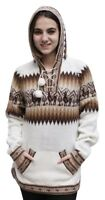 Hooded Alpaca Wool Knitted Hoodie Sweater Llamas Ethnic Design