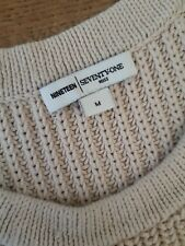 LADIES REISS 1971 NUDE CHUNKY CABLE KNIT COTTON OXFORD JUMPER UK 12 EU 40 USA 8