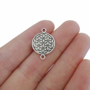 20 Antique Silver Tone Round Flower Connector Charms Pendant for Jewelry Making