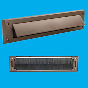 10x Brown PVC Door Letter Box Draught Excluder Brush Seal 338 x 78 mm, With Flap