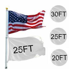 20/25/30ft Flag Pole Aluminum Telescopic Flagpole Kit Us Flag Ball Can Fly 2Flag