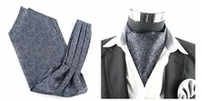 Men Wedding Formal Cravat Ascot Scrunch Self Neck Tie Black Dark Silver Paisley