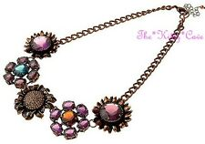 Stunning Artisan Rainbow Jewels Flower Floral Cluster Statement Collar Necklace