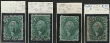 USA 1861 Scott 31/33 + 35 in 4 diffrent types vf used