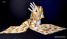 Butterfly Garden Scarf Wrap Vest Floral Shawl w/ Yellow Peach Orange Red Green