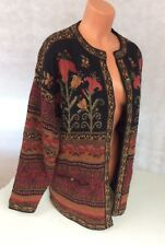 ICELANDIC DESIGN Floral Wool Cardigan Sweater Heavy Lined Women's Large