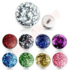 1 x 14G Glitter Dome Top Internally Threaded Dermal Anchor Spare Part