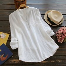 Summer Women's Blouse Ladies Loose Long Sleeve Casual Shirt Tops Cotton Linen