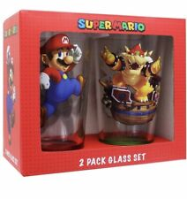 Brand New Super Mario Pint Glass Set of 2 16oz/473mL- Mario and Bowser Glasses