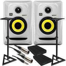 "KRK RP4G3 ROKIT 4 G3 4"" Studio Monitor Pair White + Stands + Cables + Pads"