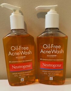 2x Neutrogena Oil-Free Acne Wash Facial Cleanser Salicylic Acid Acne 6 oz 1/22