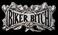 BIKER BITCH COOL MOTORCYCLE ROSES FLOWER BELT BUCKLE BOUCLE DE CEINTURE