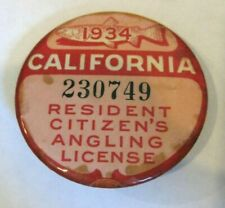 1934 California Resident Angling Fishing Celluloid License Badge antique vintage