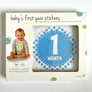 Babys First Year Belly Stickers 1 - 12 Months Peel Stick Click Milestone Boy
