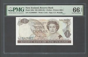 New Zealand One Dollar (1985-89) P169b Uncirculated Graded 66