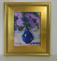 JOSE TRUJILLO FRAMED OIL CANVAS PAINTING IMPRESSIONIST BLUE VASE STILL LIFE COA