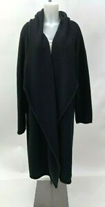 ESKANDAR Black Cashmere Coat Sweater with Hood Size 1