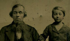 FATHER AND SON. FATHER WITH LONG CHIN BEARD, SON EMBARRASSED BY IT. TINTYPE.