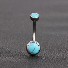 G23 Titanium Blue Turquoise Belly Button Ring Piercing Double Balls Navel Rings