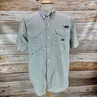 Columbia Mens PFG Super Bonehead Shirt Short Sleeve Vented Blue Tan Plaid Size L