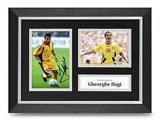 Gheorghe Hagi Signed A4 Photo Framed Romania Memorabilia Autograph Display + COA