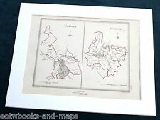 WARWICKSHIRE - COVENTRY & WARWICK, 1835 - Original Antique Town Boundary Map .