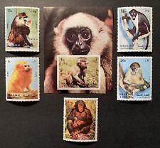 SHARJAH 1972 MNH MONKEY STAMPS SET & SS CHIMP APE BABOON PRIMATE WILD ANIMALS