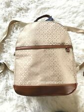 Tommy Hilfiger Tan Signature Jacquard Th Logo Backpack School Travel Brown
