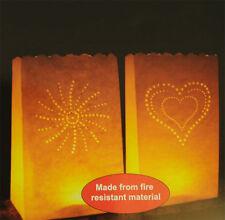 10 X CANDLE BAGS TEA LIGHT TEALIGHT PAPER BAGS FIREPROOF LANTERN GARDEN OUTDOORS