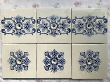 Antique Transfer Print Blue Floral Stove Tiles w/ Bolt Holes