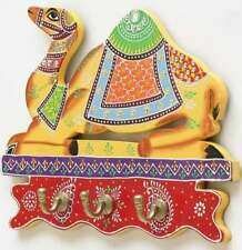 Wood camel statue key holder with 3 hooks wall mount door hanging painted hanger
