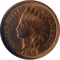 1891 Indian Cent NGC MS64RB Great Eye Appeal Nice Luster Nice Strike