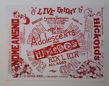 NOMEANSNO/ADOLESCENTS/WEIRDOS/RICK L. RICK/HICKOIDS Original Show Flyer 1986