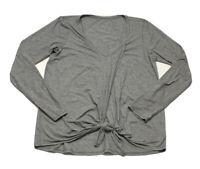 Lululemon Gray V Neck Long Sleeve Shirt Tie Front workout Yoga Wrap Medium Lar