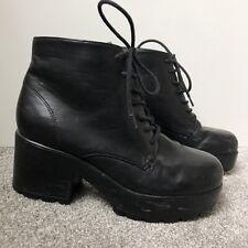 Topshop Chucky Platform Lace Up Ankle Boots Black Size UK5