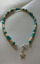 blue and cream wooden bead anklet/ankle bracelet boho funky surfer hippy