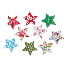 BULK BUY 50 x Lovely Christmas Mixed Star Design White Wooden Buttons FREE P&P
