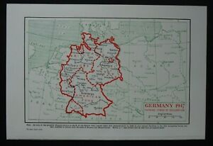 Vintage Map: Germany in 1938 & 1947, New Universal Encyclopedia, 1949