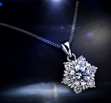 """""""Snowflake"""" 925 Sterling Silver 2.0 Cts AAA Cubic Zirconia Pendant Necklack"""