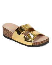 NIB Qupid Arty-01 Gold Metallic Leatherette Dbl Buckle Wedge Footbed Sandal  6M