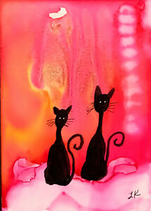 """ACEO Original tall Black CATS shimmery painting by Lynne Kohler 2.5x3.5"""""""