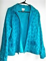 Chico's 2 (12-14) cotton lined eyelet aqua blue open front collared jacket EUC