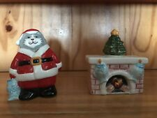 Santa Cat With Fireplace Set Salt And Pepper Shakers